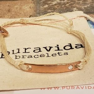 Crystal Rose gold Bar, Pura Vida Bracelet